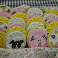 Farm Animal Cookies These are my first attempt at doing RIT. These cookies were for a baby shower with a farm theme.