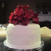 Brush Embroidery Wedding cake for a friend. She just wanted a cake for the cutting ceremony. She added fresh flowers on top, not the ones in the picture.