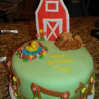Farm Cake My husband had a brief obsession with Farmville so that was the theme of his cake that year.