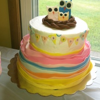 Owl Baby Shower Cake I Made For My Sister 8In Lemon With Bc And 10In Yellow With Bc Mmf Decorations And For The Flag Pendants I Used A S  Owl baby shower cake I made for my sister:-) 8in lemon with bc and 10in yellow with bc, mmf decorations and for the flag pendants I used a...