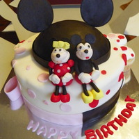 Minnie And Mickey Cake  Half Minnie Mouse, half Mickey Mouse cake I made for a friend's little girl and boy:-) White cake, raspberry filling. I molded the...