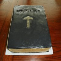 Bible Birthday Cake   Bible cake for a friend's birthday. My first book cake...fondant decor, gold luster dust painted on