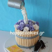 Watering Flower Pot Cake White chocolate cake with white chocolate cream filling.