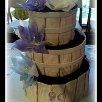 "Wafer Paper Flowers On Wooden Basket Cakes Wafer paper flowers on ""wooden basket"" cakes"
