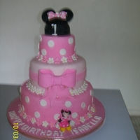 Minnie Mouse Bottom lemon sponge with lemon curd filling, middle chocolate fudge with mocha filling, top vanilla sponge with butter almond filling....