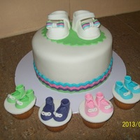 Baby Shower Baby shower cake. *** unknown. Colour scheme was blue, pink, mint green and purple.