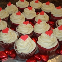 V Day Red Velvet Red Velvet cupcakes with cream cheese frosting and fondant heart