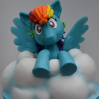 My Little Pony Rainbow Dash Cake A cake cloud and a RKT and modeling chocolate My Little Pony.