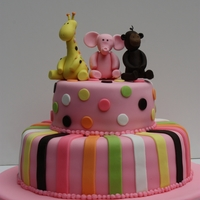 Baby Jungle Animals Cake A first birthday cake with hand molded gumpaste jungle animals