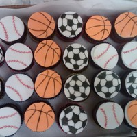 Sports Birthday These were for my son's birthday, at school and daycare! Fondant circles cut out and designs drawn on with edible markers.