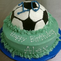Another Soccer Ball Cake This one was chocolate with cherry filling and buttercream frosting.