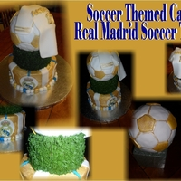 Real Madrid Soccer Cake Cheesecake cake with cheesecake filling. Iced in buttercream with fondant accents. Soccer ball is ricekrispies covered in fondant... edible...