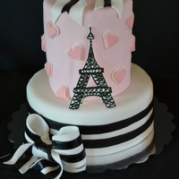 Paris Cake Client loved two totally different cakes, so I did a mash-up and made the top tier a barrel cake. GP Eiffel tower and white part of bows,...