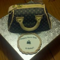 Louis Vuitton Purse Another Louis Vuitton purse cake. Cake is lemon with strawberry filling, covered with chocolate fondant. Used an edible image for the...