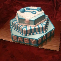 Baby Shower Cake Three hexigon layers covered in BC with fondant accents. TFL!!