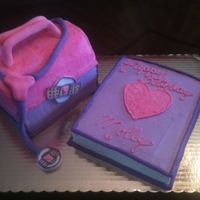 Doc Mcstuffins Cake Cake is covered in BC and fondant accents