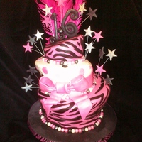 Zebra Sweet 16 sweet 16 zebra print cake (it sorta looks like hot pink leopard more print) per customers design request inspired by pink cake box. inside...