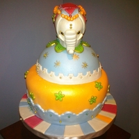 Elephant Cake cake for an 86 y.o. gal who loves elephants and bright colors.