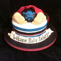 Pirate Baby Shower pirate baby bottom cake coordinated with invitation. i put a pirate hat on the backside bc it bothered me to see what should be the baby&#...