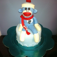 Blue Sock Monkey sock monkey cake for my 8 y.o. daughter. she loves sock monkeys, the color blue, and her birthday is the middle of january. ta-dah!