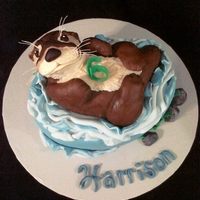 Otter Cake first he wanted a half pipe, then it was an otter... here's the otter cake for 6 y.o. harrison!