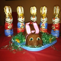 Bunny chocolate malt cake covered in chocolate fondant. tfl