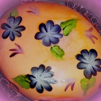 Easter Egg wanted to make something eggstra special, hand painted egg cake. :) tfl