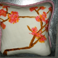 Vintage Cherry Blossom Pillow banana cake covered in mmf, stitched, hand painted, based on a pillow i saw. tfl!