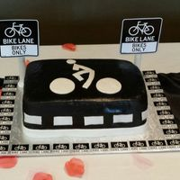 Bike Lane Chocolate cake with butter cream and marshmallow fondant