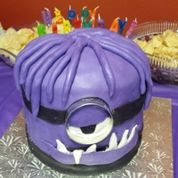 Purple Minion With Dreads Chocolate cake with butter cream and marshmallow fondant