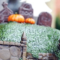 Halloween Graveyard Cake   Halloween Graveyard CakeThis is a small chocolate cake with vanilla buttercream Halloween theme cake. Decorated with fondant.