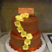 60Th Wedding Anniversary Dawn's yellow cake, Kahlua mousse filling, mocha frosting.