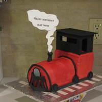 Choo Choo! I asked my nephew, Matthew what he would like for his birthday treat. He said t...hat he wanted a train cake with steam coming out of it to...
