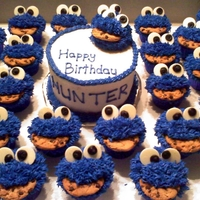 Cookie Monster Cupcakes And Smash Cake