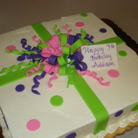 Gift Box Birthday Cake Buttercream, fondant decorations