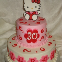 Hello Kitty Cake Buttercream iced, fondant accents.