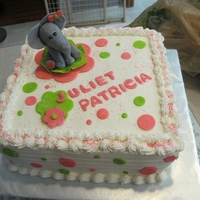 Elephants And Polka Dots chocolate cake with raspberry filling, buttercream frosting and fondant decorations
