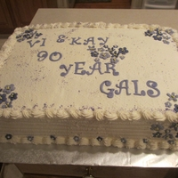90 Year Old Birthdays Chcolate cake with buttercream filling and frosting - violets/flowers are fondant