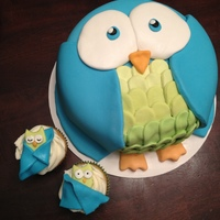 Owl Cake And Cupcakes Owl cake with baby owl cupcakes created for a baby boy's shower.