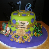 Mask Cake 10 adn 8 inch with fondant masks