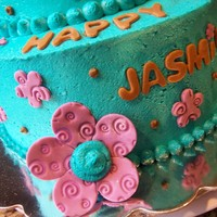 Designed By Birthday Girl jasmine drew me a picture of the cake she wanted and was very specific about her colors. chocolate cake with vanilla frosting. teal with...