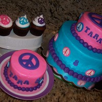 Peace Birthday Cake birthday girl asked for peace signs on her cake! cake is combination of several ideas that i got from several cakes here on cc. tfl