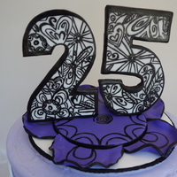 Doodle Cake Hand Cut And Hand Painted Doodle On The 25 And Discs Vanilla Purple Ombre Cake With Vanilla Buttercream Cupcakes Matched  doodle cake. hand cut and hand painted doodle on the 25 and discs. vanilla - purple ombre cake with vanilla buttercream. cupcakes matched...
