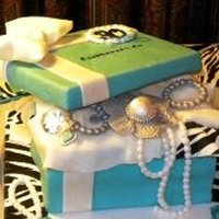 Gift Box Cake Tiffany blue with zebra print