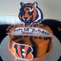 Bengals Cake bengals birthday cake, the bengal and the B are royal icing. The ribbon is fondant
