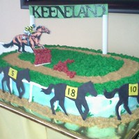 Horse Racing The cake is covered with Buttercream, the sign is pastillage and the jockey is a edible photo on fondant. The horses are made of fondant...