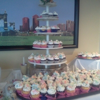 Beach Theme Wedding cupcake display, chocolate sea shells the flowers are gumpaste