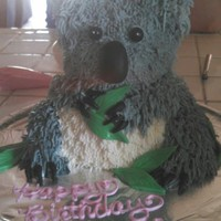 A Koala Bear Birthday Cake Using Wiltons 3D Teddy Bear Pan The Bottom Legs Are Repositioned Since A Koala Bears Legs Face Forward Like Our... A koala bear birthday cake using Wilton's 3D teddy bear pan. The bottom legs are repositioned since a koala bears legs face forward...