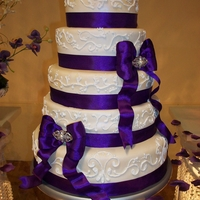 "5 Tier Round Wedding Cake 5 tier wedding cake (8"", 10"", 12"", 14"", 16""). The 8"", 12"" and 16"" were white cake filled with the..."