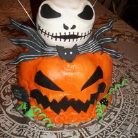 Nightmare Before Christmas Made this one for a little guy who loves Nightmare Before Christmas. Jack's head is a ball of RKT's covered in fondant. The...